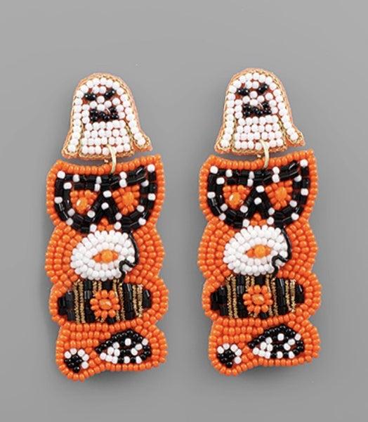 Beaded Boo Earrings