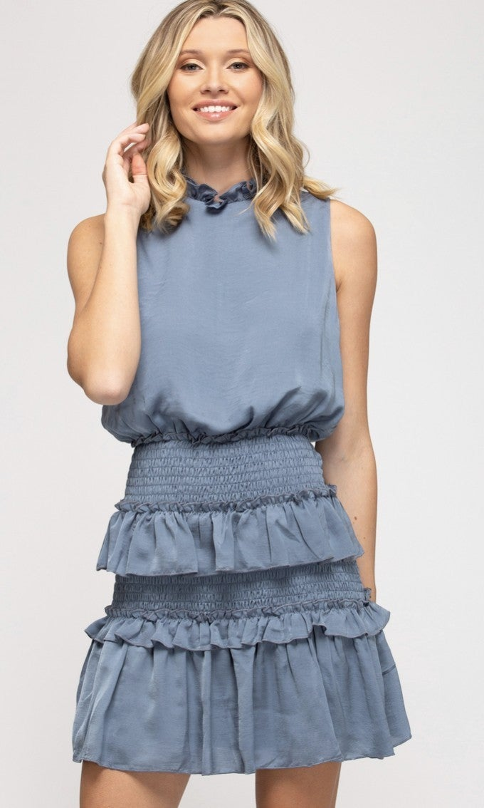 Sleeveless Ruffle Dress- Blue