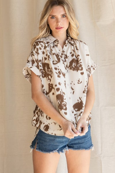 Taupe Tie Dyed Collared Top