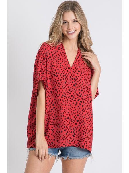Red & Black Animal Print V-Neck Top
