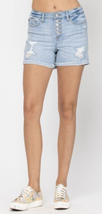 """Judy Blue Light Wash Distressed 5 Button Shorts 4"""""""