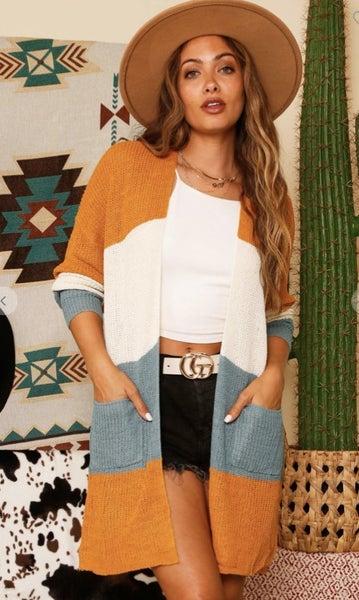 Long Sleeve Colorblock Sweater W/Pockets