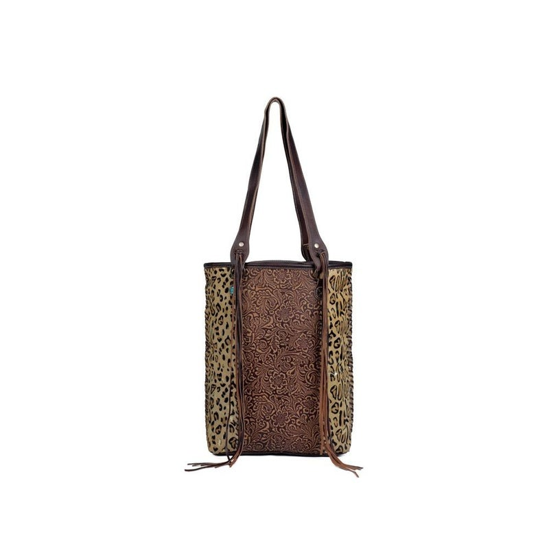 Golden Studs Leather Hairon Bag