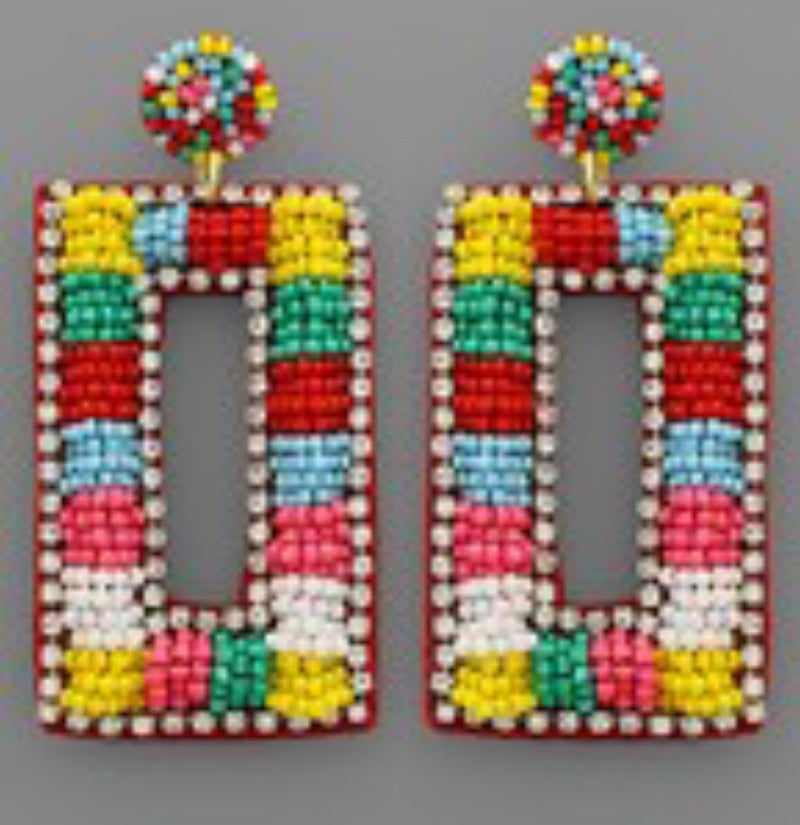 Beaded Multi Colored Square Dangle Earrings