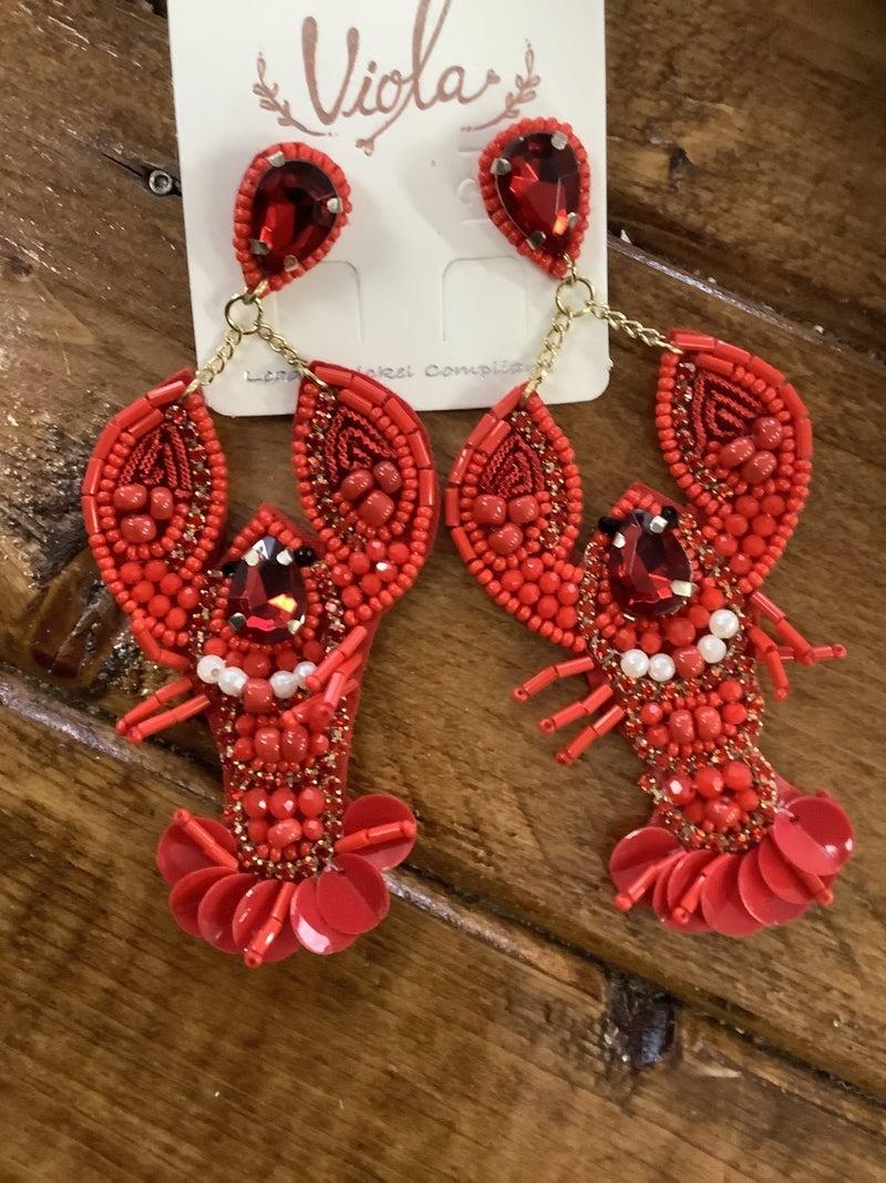 Beaded Crawfish Earrings
