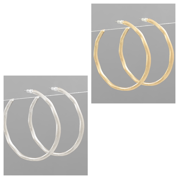 Hammered Metal Hoops Gold & Silver