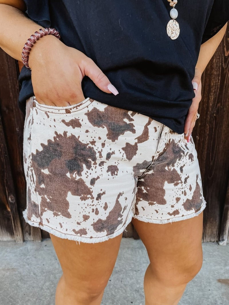 Oh Judy Cow Print Shorts