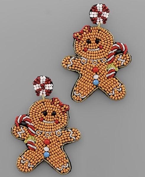 Beaded GingerBread Man Earrings