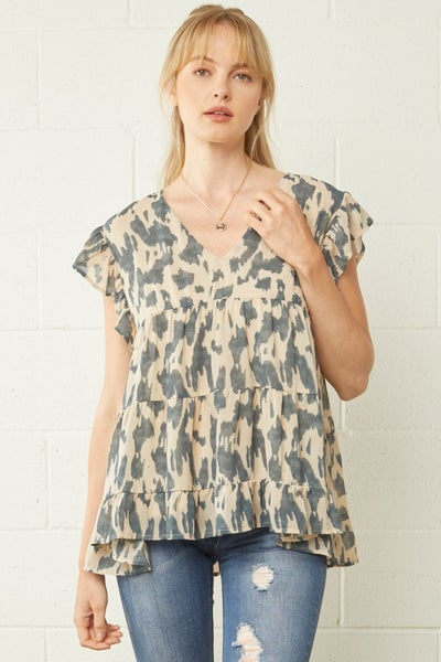 Taupe Ruffled Sleeve Tiered V-Neck Top
