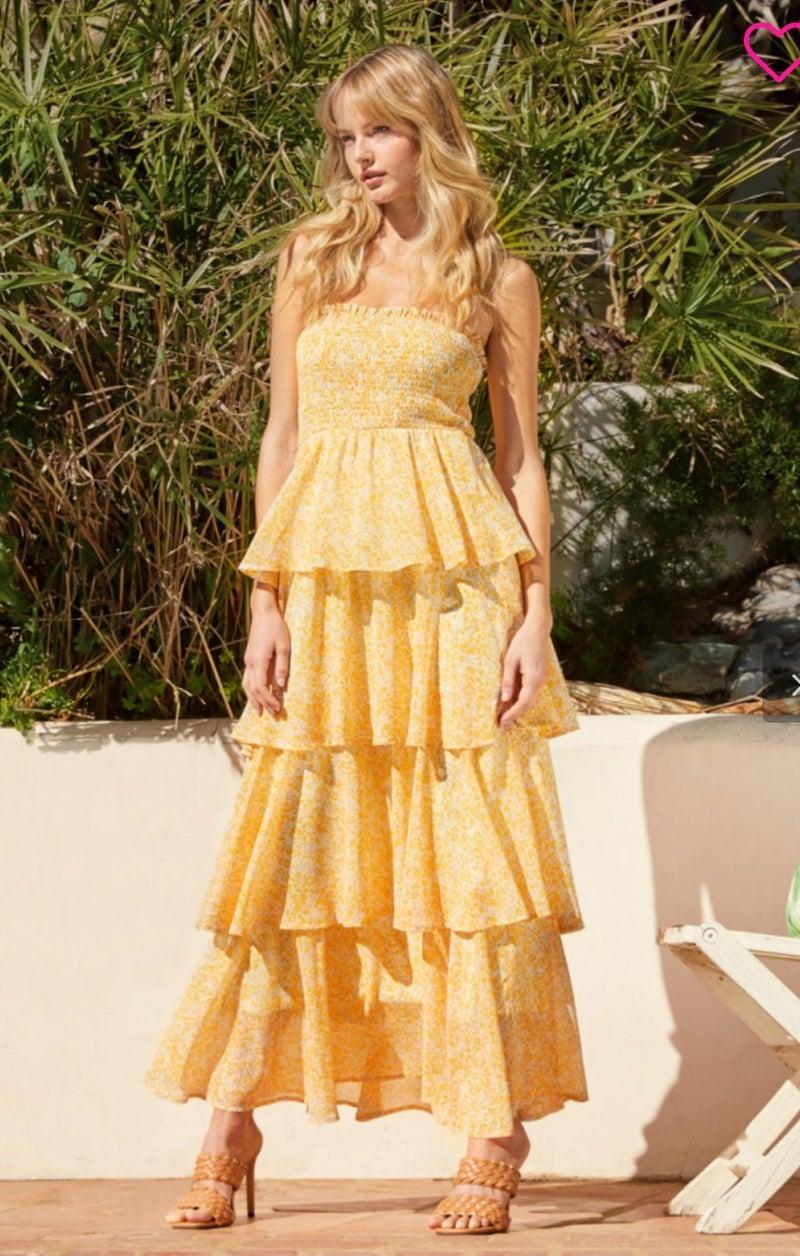 Floral Print Tube Maxi Dress
