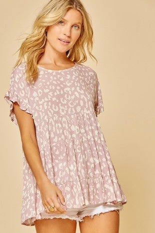 Much Love Mauve  Babydoll Top