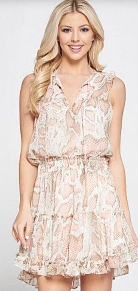 Animal Print Ruffled Skirt Dress