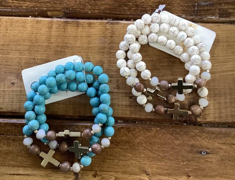 3pc Cross Beaded Bracelets