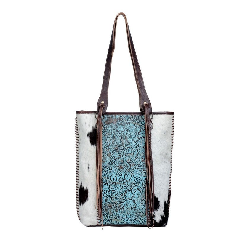 Blue Ripples Leather & Hairon Bag