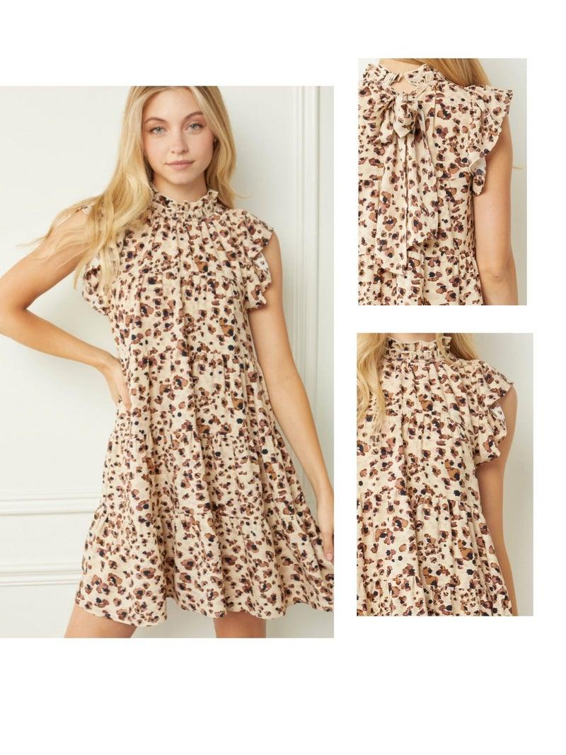 Ruffled Print Mock Neck Tiered Dress