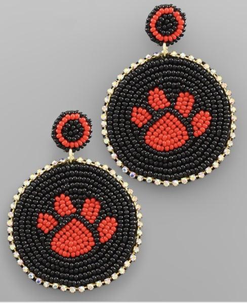 Red & Black Beaded Paw Earrings