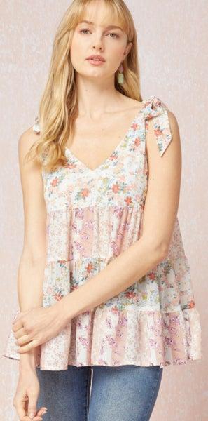 Floral V-Neck Shoulder Tie Top