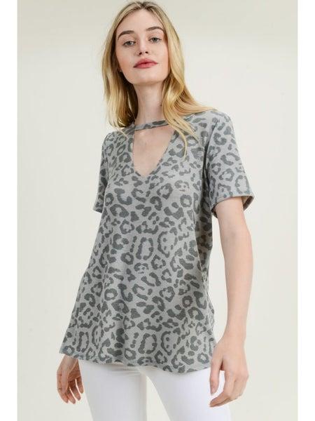 Leopard Print Keyhole Top