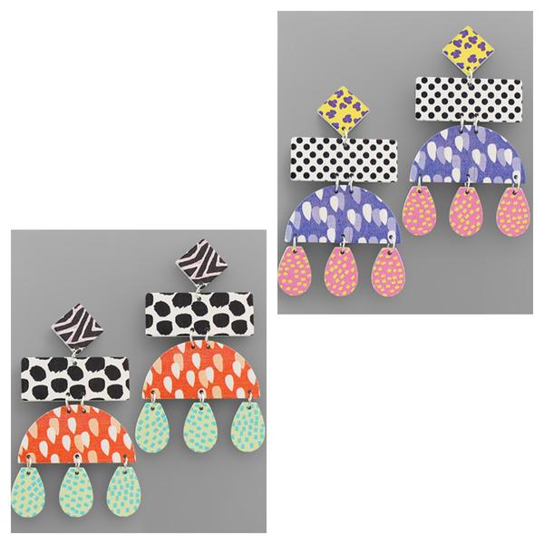 Wood Geo Drop Earrings