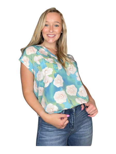 Sage Floral V-Neck Top
