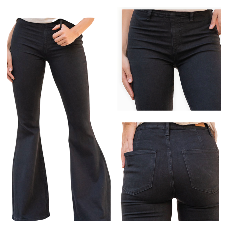 Judy Blue Black Pull On Flare  Jeans 0-16W
