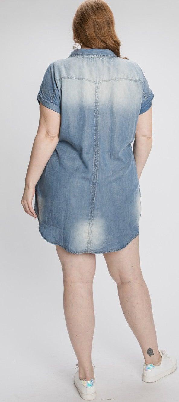 Curvy Denim Shirt Dress