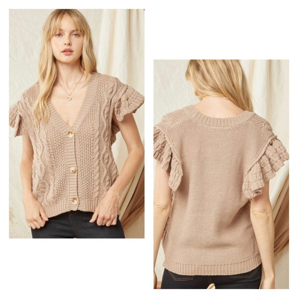 Taupe Solid V-Neck Button Up Sweater