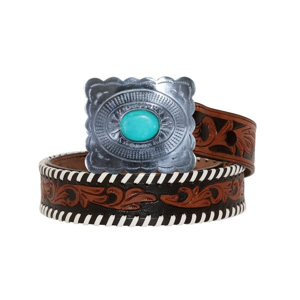 GRAVE BROWN HAND-TOOLED LEATHER BELT
