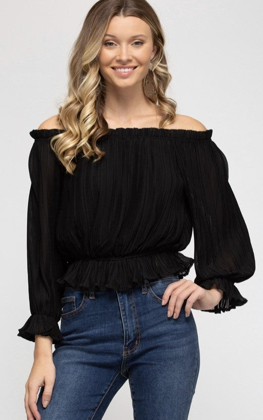 Pleated Off The Shouler Top - Black