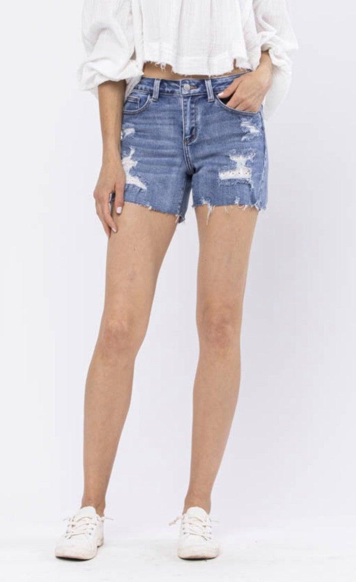 "Judy Blue Distress Eyelet Patch Shorts 4.5"" *Final Sale*"