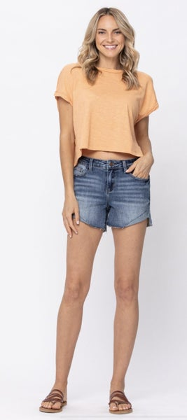 Taking Off Cuffed Judy Blue Shorts