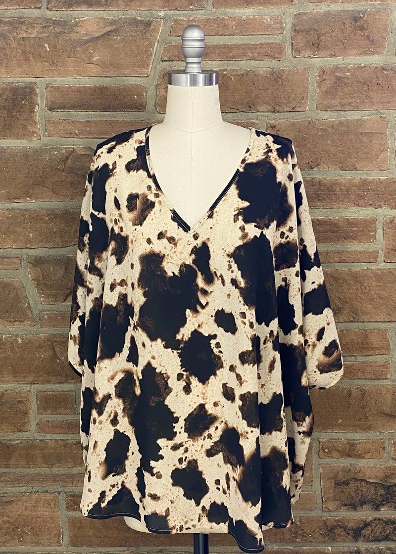 Cow Print V-Neck Top