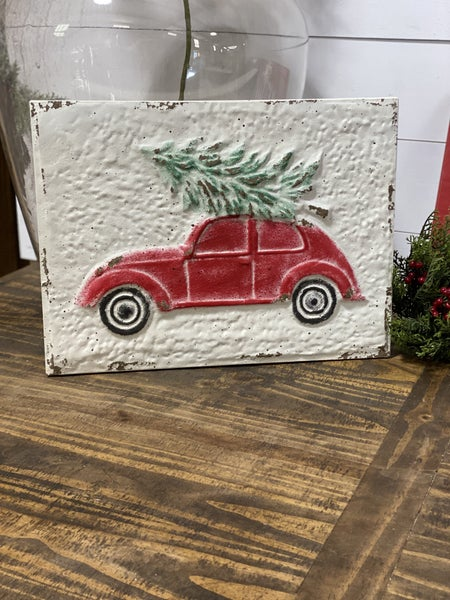 Volkswagen Bug with Christmas Tree