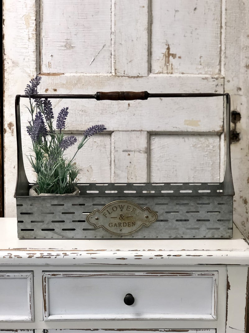 Large Metal Rectangular Caddy with Wooden Handle
