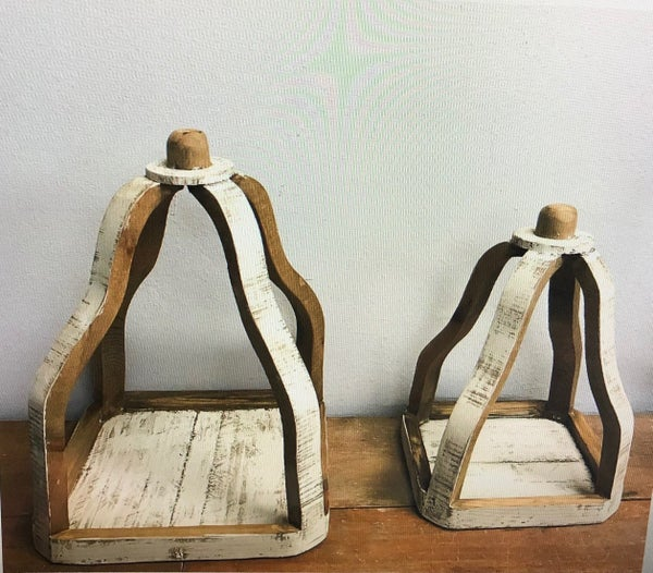 White Wash Wood Lanterns