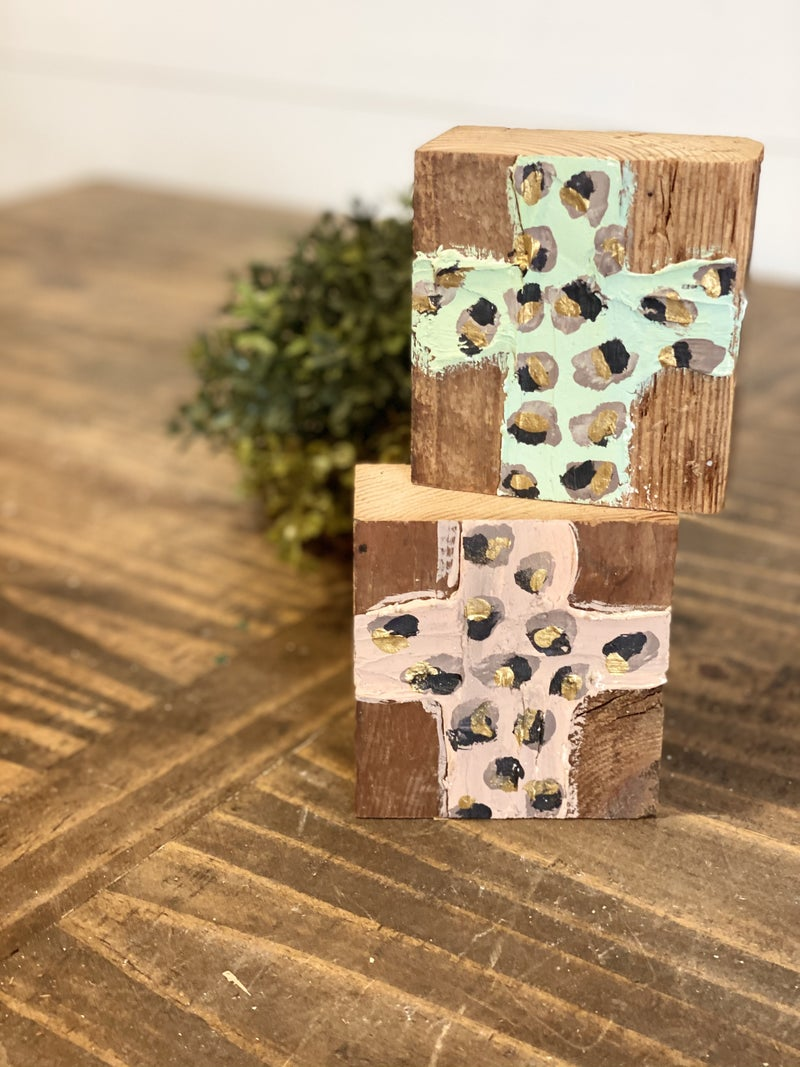 Chunky Wood Block-Leopard Cross
