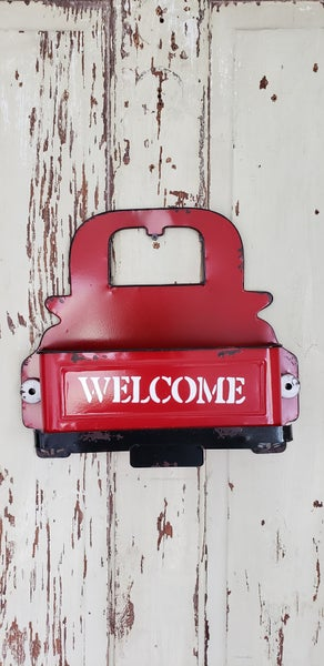 Red Truck Welcome Bin