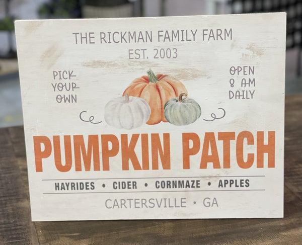 Custom Fall Pumpkin Patch Sign