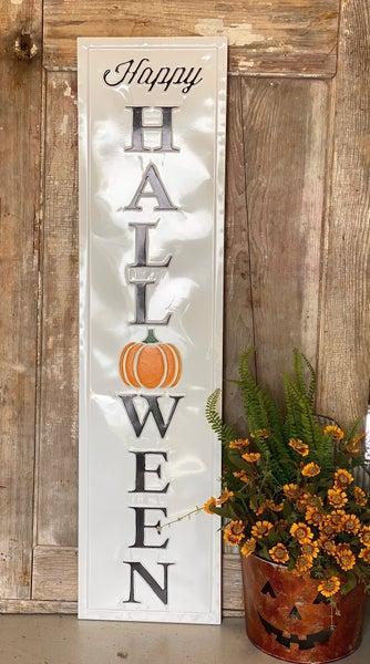 "White Embossed ""Happy Halloween"" Sign"