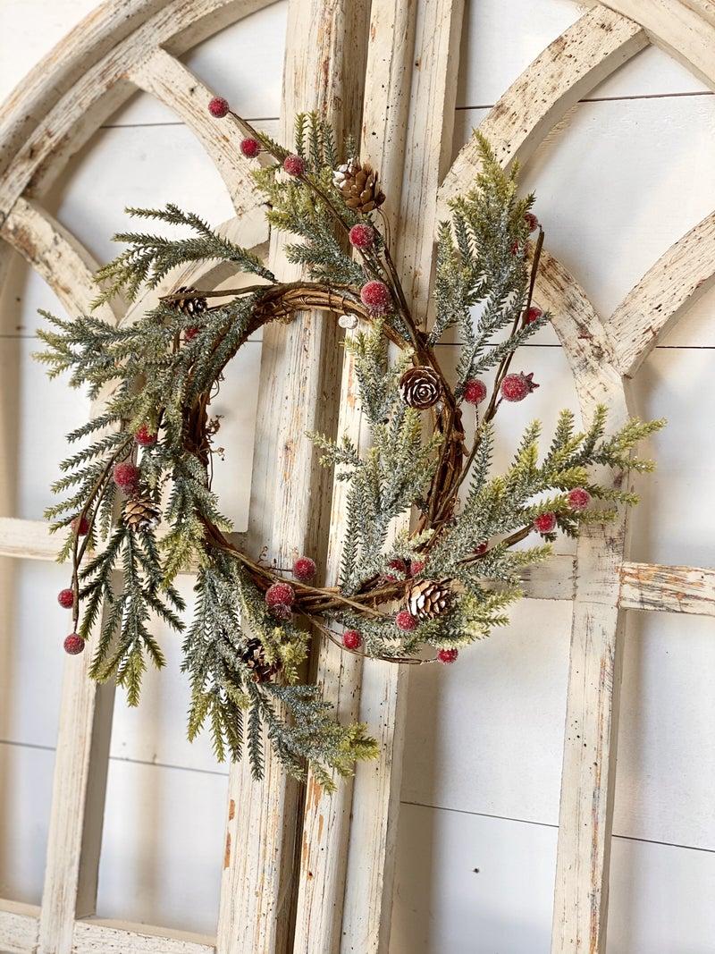 "Mountain Pine w/ Berries Wreath 12"""