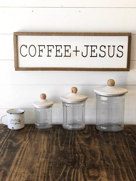 """Coffee + Jesus"" Framed Wood Sign"