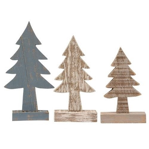 Rustic Wood Trees - Set of 3