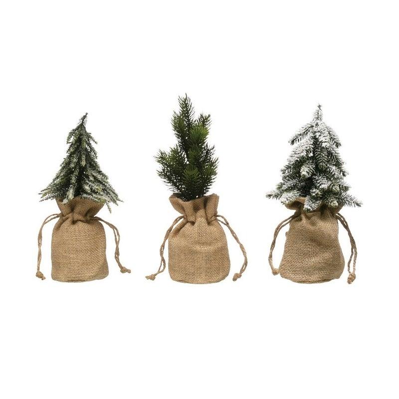Faux Pine Trees in Burlap Sack
