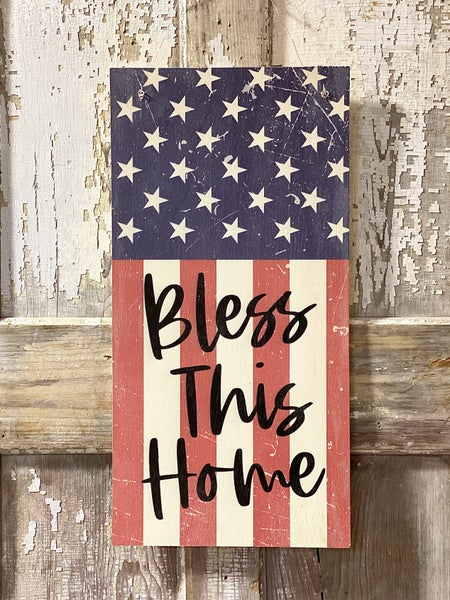 Flag Door Hanger -Bless This House