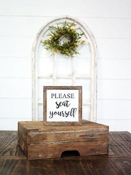 """""""Please Seat Yourself"""" Framed Wood Sign"""