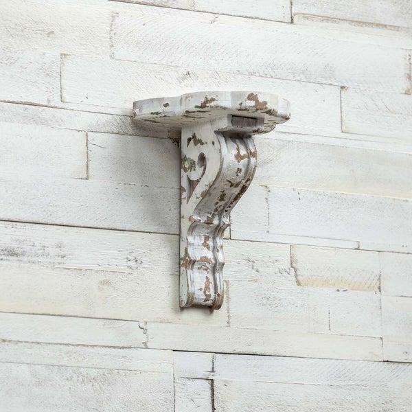 DISTRESSED WHITE CORBEL SHELF