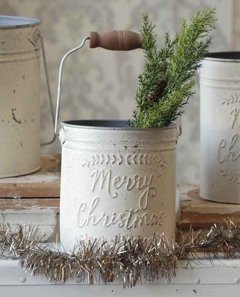Merry Christmas Pail   Distressed Cream
