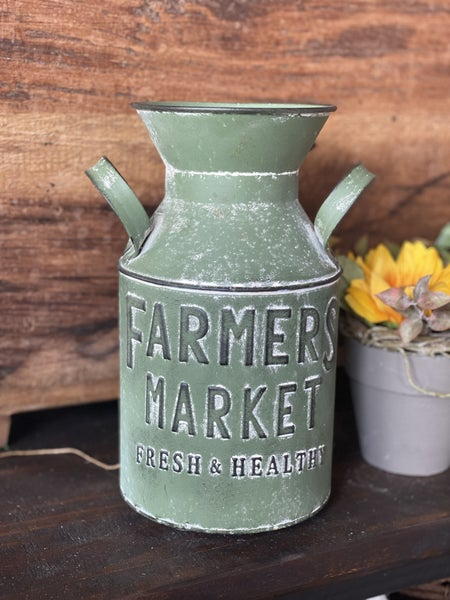 Farmers Market Milk Can, Green