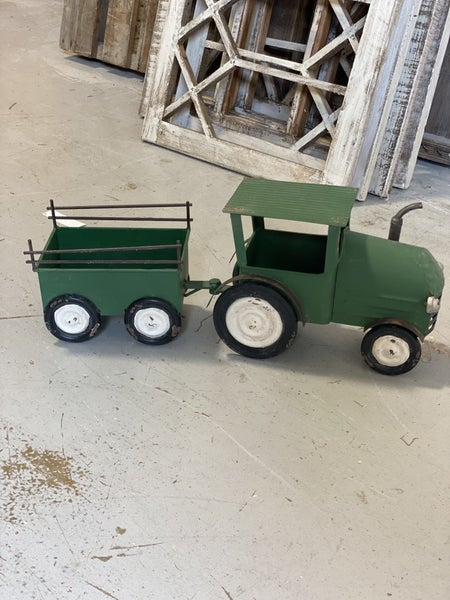 Green Metal Tractor with Trailer Planter