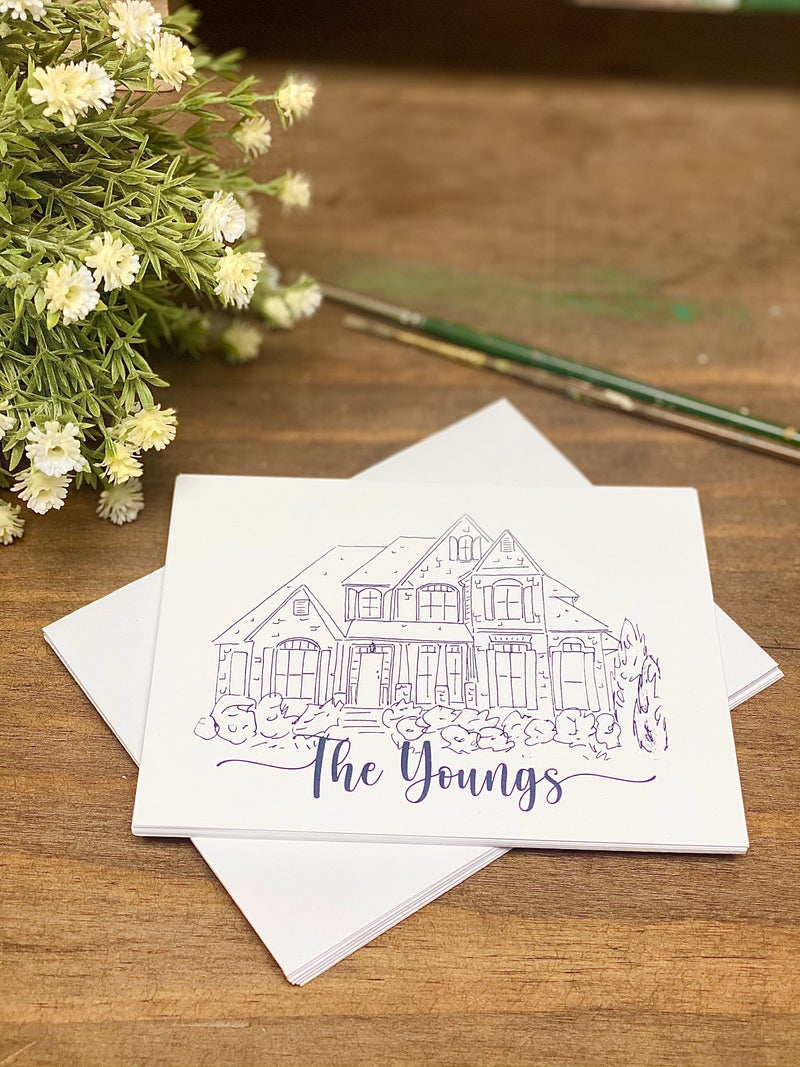Personalized B&W House Note Card Set (10 Flat Stationary + Envelopes)